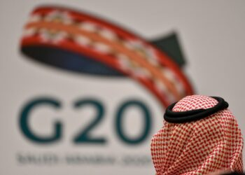 An unidentified guest attends a meeting of Finance ministers and central bank governors of the G20 nations in the Saudi capital Riyadh on February 23, 2020. - The deadly coronavirus epidemic will dent global growth, the IMF warned, as G20 finance ministers and central bank governors weighed its economic ripple effects at a two-day gathering in Riyadh. (Photo by FAYEZ NURELDINE / AFP) (Photo by FAYEZ NURELDINE/AFP via Getty Images)
