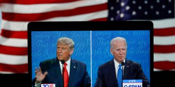 WASHINGTON, D.C., Oct. 22, 2020 -- Photo taken in Arlington, Virginia, the United States on Oct. 22, 2020 shows C-SPAN live stream of U.S. President Donald Trump L and his Democratic challenger Joe Biden attending their final debate in the 2020 presidential race.  The second and final round of U.S. presidential debate between incumbent Donald Trump and Democratic nominee Joe Biden kicked off Thursday night, offering voters the last chance before Election Day to see the candidates facing each other head-on and making their cases for the presidency. (Photo by Liu Jie/Xinhua via Getty) (Xinhua/Liu Jie via Getty Images)