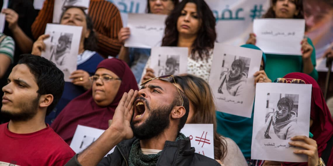 Protest in front of Medicine Syndicate in Cairo, Egypt, on March 30, 2017 in solidarity 22-year-old imprisoned student, Ahmed el-Khatib, who is suffering from an illness brought on by unsanitary prison conditions. He is one of an estimated 60,000 political prisoners in Egypts jails, many of whom are sick but are denied medical treatment. (Photo by Ibrahim Ezzat/NurPhoto via Getty Images)