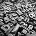 Typescript metal letters seen in a flea market