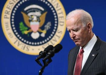 US President Joe Biden speaks about the situation in Myanmar in the South Court Auditorium of the Eisenhower Executive Office Building in Washington, DC, February 10, 2021. (Photo by SAUL LOEB / AFP) (Photo by SAUL LOEB/AFP via Getty Images)