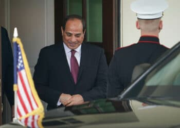 Egypt's President Abdel Fattah al-Sisi departs outside of the West Wing of the White House in Washington, DC on April 9, 2019 after meetings with US President Donald Trump. (Photo by MANDEL NGAN / AFP)        (Photo credit should read MANDEL NGAN/AFP via Getty Images)
