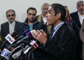 "Egyptian journalist Khaled Dawoud speaks during a press conference on the Egyptian opposition ahead of the March 2018 presidential elections, in Cairo on January 30, 2018. - Egyptian authorities have arrested more than 1,000 people, rights groups said on September 25, 2019, broadening a crackdown launched after rare protests calling for the ouster of general-turned-President Abdel Fattah al-Sisi. High profile dissidents have also since been detained, including Khaled Dawoud, a former leader of the liberal Al-Dostour party who appeared in front of state prosecutors on Wednesday, his lawyers confirmed. Dawoud, a well-known politician and journalist, is a senior member of a broad coalition of leftist and liberal opposition parties that called on Tuesday for a ""national dialogue"" with authorities. (Photo by Mohamed EL-RAAI / AFP)        (Photo credit should read MOHAMED EL-RAAI/AFP via Getty Images)"