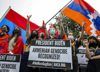 WASHINGTON, DC - APRIL 24: Supporters of Armenian stand off with Turkish supporters outside the Turkish Embassy on April 24, 2021 in Washington, DC. President Joe Biden became the first US president to formally refer to atrocities committed against Armenians as a