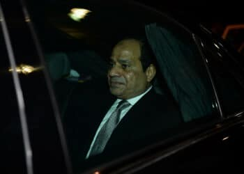 Egypt President Abdel Fattah al-Sisi leaves in a car following his arrival at Indira Gandhi International Airport for the Third India-Africa Forum Summit in New Delhi on October 28, 2015. India is hosting an unprecedented gathering of Africa's leaders as it ramps up the race for resources on the continent, where its rival China already has a major head start. AFP PHOTO / SAJJAD HUSSAIN        (Photo credit should read SAJJAD HUSSAIN/AFP via Getty Images)
