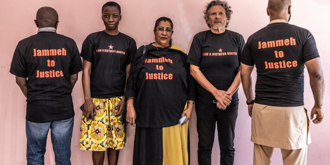 Reed Brody with leaders of the association of victims of former president Yahya Jammeh, Banjul, The Gambia 2021. Photo @ James Florio .