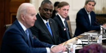 WASHINGTON, DC - MAY 21: Defense Secretary Lloyd Austin listens as U.S. President Joe Biden and President Moon Jae-in of the Republic of Korea participate in an expanded bilateral meeting in the State Dining Room of the White House on May 21, 2021. Moon Jae-in is the second world leader to be welcomed by President Biden during his administration and two leaders will later participate in a joint press conference. (Photo by Stefani Reynolds-Pool/Getty Images)