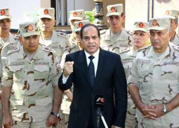 CAIRO, EGYPT - OCTOBER 25: Egyptian President Abdel-Fattah El-Sisi (C) gives a speech during the press release following the meeting of the National Defence Council after the Sinai attacks. At least 30 soldiers were killed in attacks. (Photo by Presidency of Egypt/Pool/Anadolu Agency/Getty Images)