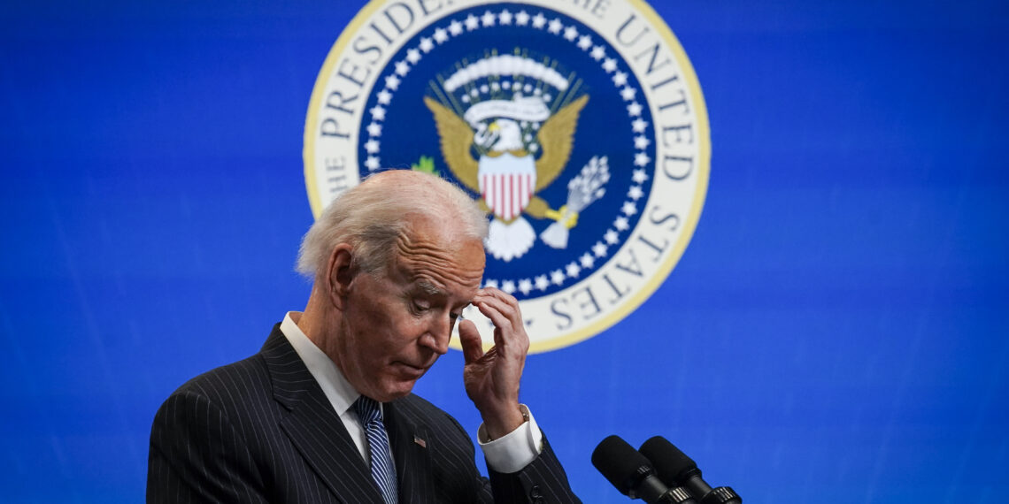 WASHINGTON, DC - JANUARY 25: U.S. President Joe Biden pauses while speaking after signing an executive order related to American manufacturing in the South Court Auditorium of the White House complex on January 25, 2021 in Washington, DC. President Biden signed an executive order aimed at boosting American manufacturing and strengthening the federal governments Buy American rules. (Photo by Drew Angerer/Getty Images)