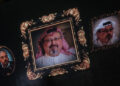 ISTANBUL, TURKEY - NOVEMBER 11: Images of murdered journalist Jamal Khashoggi are seen on a big screen during a  commemorative ceremony held on November 11, 2018 in Istanbul Turkey. The ceremony, which saw friends pay tribute to the journalist and Saudi critic, was held at the wedding salon where the couple planned to hold their wedding.  Khashoggi was killed on October 2, 2018 after entering the Saudi Consulate in Istanbul to finalize papers for his marriage, sparking a weeks long investigation and creating diplomatic tension between, Turkey, the U.S and Saudi Arabia.  (Photo by Chris McGrath/Getty Images)