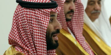 OSAKA, JAPAN - JUNE 29:  (RUSSIA OUT) Saudi Arabia's Prince and Defence Minister Mohammad bin Salman al Saud speeches during a bilateral talks at the G20 Osaka Summit 2019,  on June 29, 2019 in Osaka, Japan. Vladimir Putin has arrived to Japan to partcipate the G20 Osaka Summit and to meet U.S.President Donald Trump.  (Photo by Mikhail Svetlov/Getty Images)