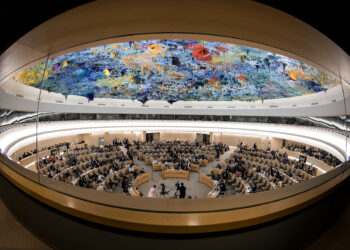 TOPSHOT - A picture taken on June 26, 2019 shows a general view of the United Nations Human Rights Council room during a debate on the report of (UN) special rapporteur on extrajudicial, summary or arbitrary executions of the killing of Saudi journalist Jamal Khashoggi in Geneva. (Photo by FABRICE COFFRINI / AFP)        (Photo credit should read FABRICE COFFRINI/AFP via Getty Images)